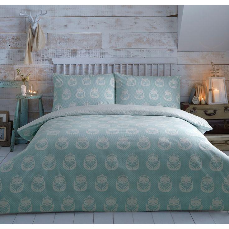 Home Collection Aqua Brushed Owl Bedding Set At Modr Je Dobr Pinterest