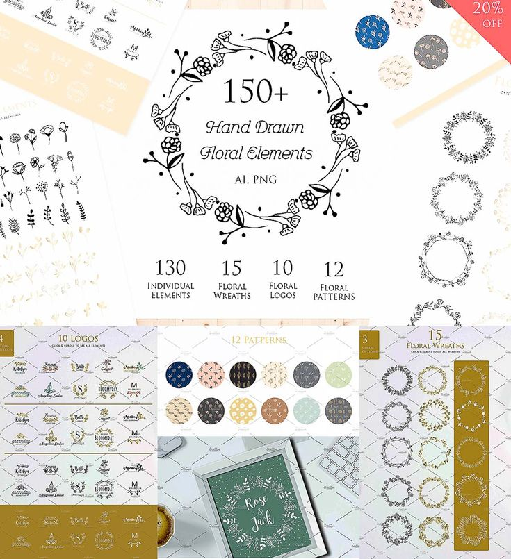 Create your own design using these 150+ hand-drawn floral elements. These pack can be used to create anything as you wish, such as logo, invitation, card, home decor, shirt design, packaging and much more. Free for download. For personal use. File format: .png, .jpg, .ai for Photoshop or other software. File size: 26 Mb.