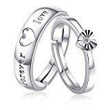 #10: SOEKAVIA ペアリング カップル リング 結婚 婚約指輪 オープンリング フリーサイズ ダイヤモンド付き シルバー 2個セット ペアリング専用の綺麗なボックス (ロマンチックな愛)