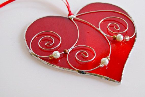 Valentine's Day Stained Glass Heart Suncatcher Valentine Gift for Lover Romance Red Heart of Glass Gifts Under 25 on Etsy, $17.00