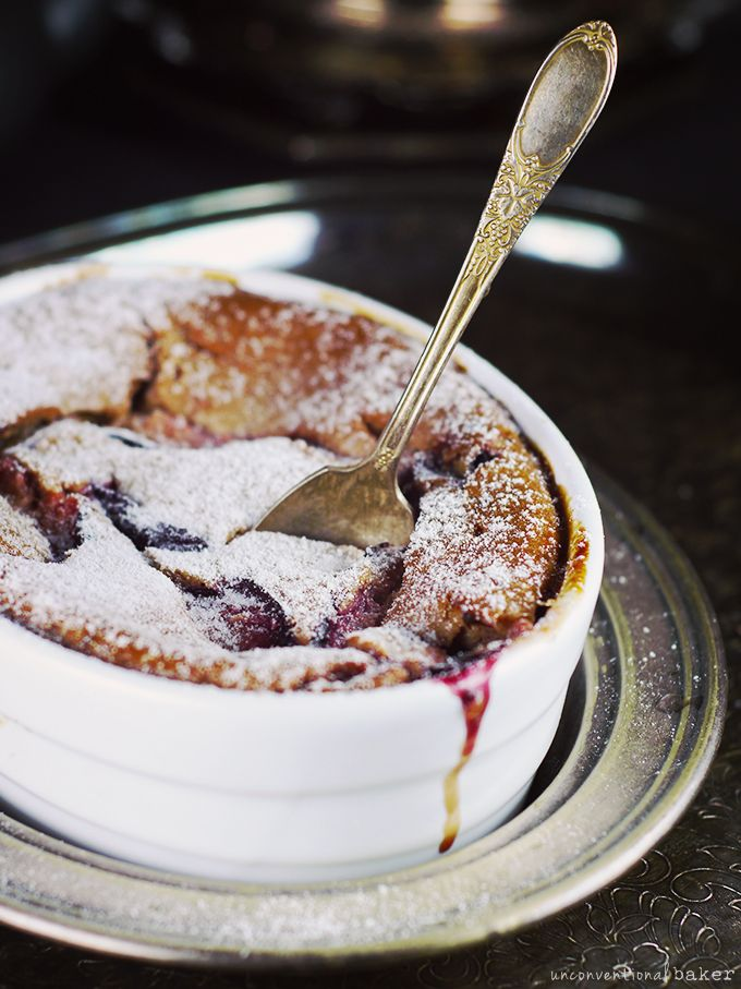 Unconventional Plum Clafoutis {Free from: dairy, eggs, gluten, oils, and refined sugars}