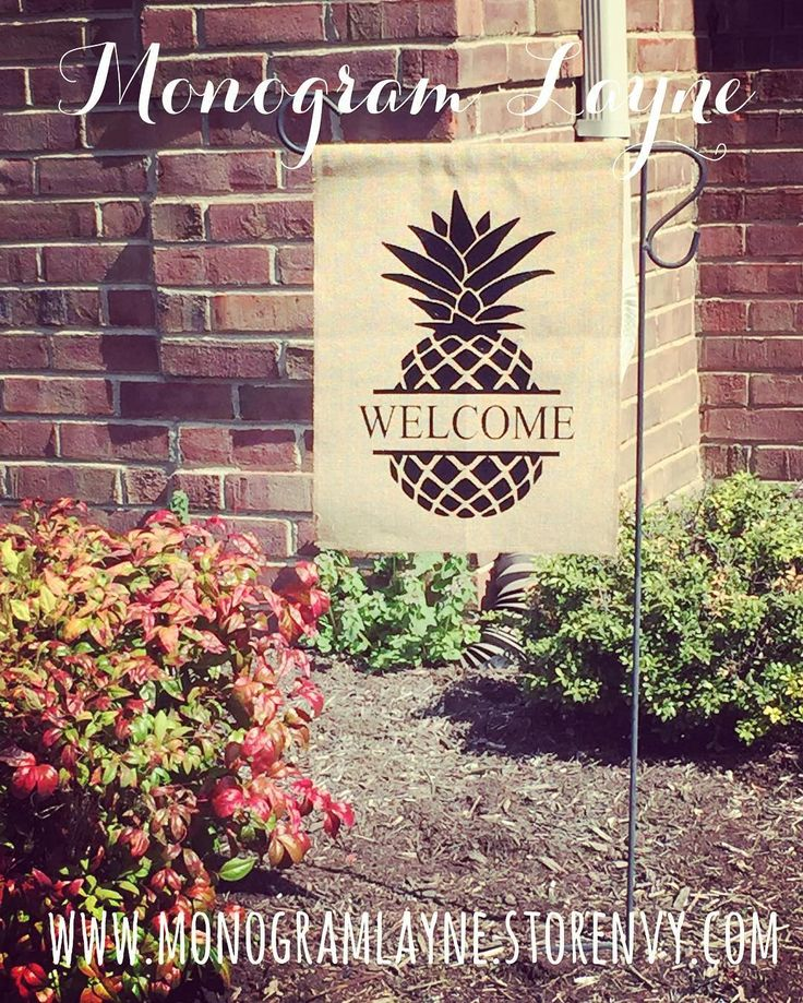 Get ready for spring with a pineapple welcome burlap garden flag! Order from www.monogramlayne.storenvy.com today!