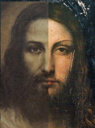 Aggemian's portrait of the man on the Shroud compared to Leonardo's Salvator Mundi