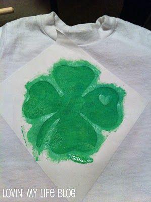 St. Patrick's Day shirt- freezer paper stencil