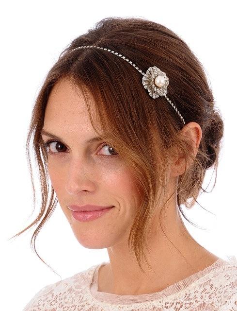 147  - UMA Headband -  bridal, comb, rhinestone, crystal, veil, brooch, wedding, tiara, head piece, Swarovski: Head Piece, Headpieces