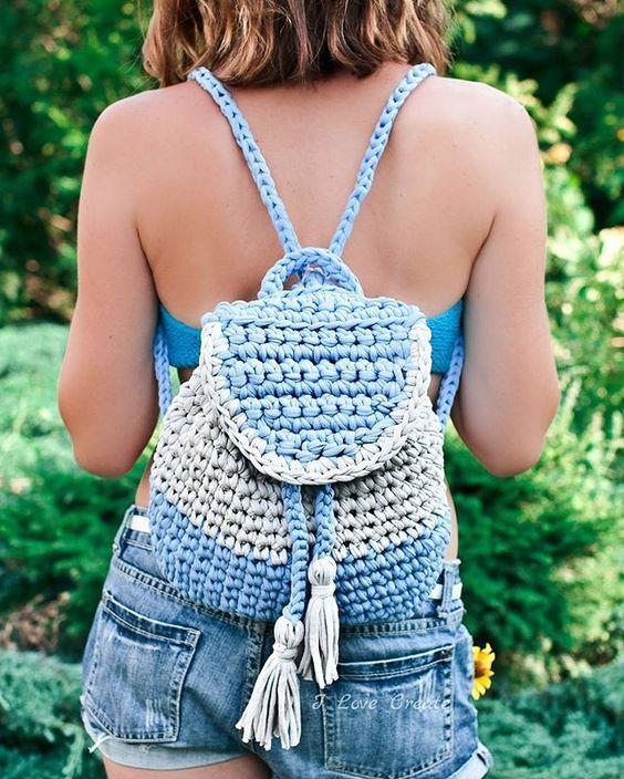 связанный рюкзак из трикотажной пряжи