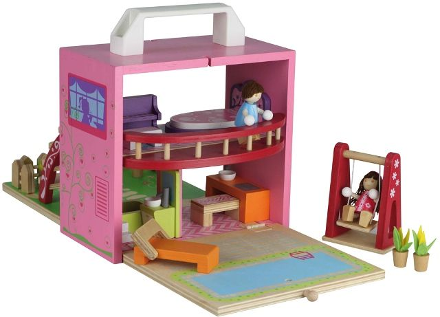 Girls gift idea online - Tiger Tribe Boxset - Doll House - $59.95 - Innovative and unique Tiger Tribe Doll House boxset - simply open, build and play, making it the ultimate travel companion as well!  Makes the perfect gift!  Each set includes: 1 x Plywood Box which is 20cm(H) x 18cm(W) 1 x Chaise Lounge 1 x Kitchen Table Pieces 1 x Bathtub 1 x Wash Basin 1 x Piano and piano stool 1 x Bed 1 x Swing 1 x Stairs 1 x Balcony 2 x Dolls which are 6cm(H) x 5cm(W). Girls gift idea online - Tiger…