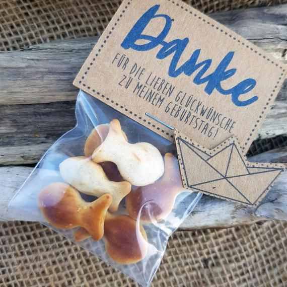 "Baptism Guest Gift ""thank you"" communion, confirmation, confirmation, birthday, Kraft paper, vintage, diy, sweets, blue, maritim, water, ship, Fish"