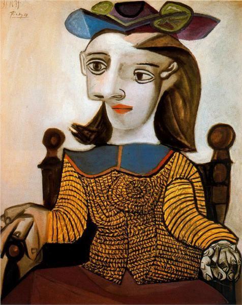The yellow shirt (Dora Maar) 1939. Pablo Picasso. Picasso laat hier zien dat je met meerdere aanzichten tegelijk een gezicht kunt maken. De oude Grieken deden dit ook, omdat hun kennis niet groter was. (Neus van opzij, twee ogen van voren etc.)