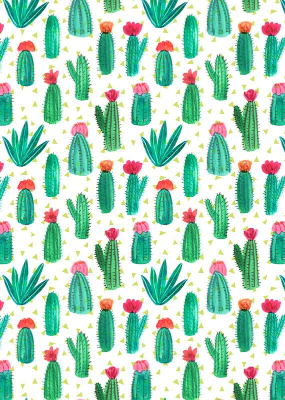 A4 Cacti Pattern Print by emilynelsonart on Etsy