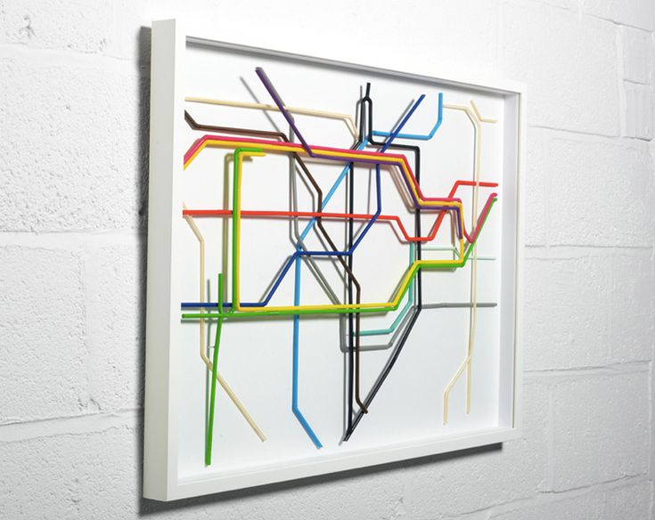 'tube map'  zone one of the london underground map made from drinking straws.