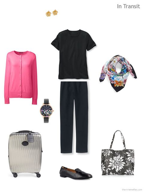 travel outfit in black and hot pink
