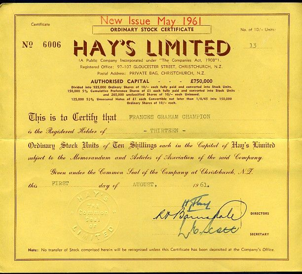 Hayu0027s Group- Hayu0027s Limited Share Certificate 1961 Hayu0027s Rooftop - company share certificates
