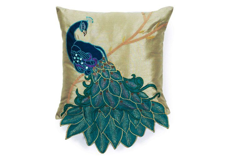 Peacock 16x16 Pillow, Multi