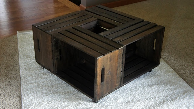 Wood crates from Michaels to make coffee table--$28 total after 50% off.