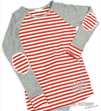 Red Striped French Terry Top with Elbow Patches