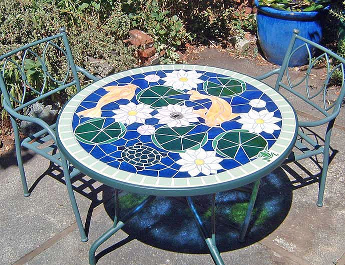 17 best images about mosaic table top ideas on pinterest for Koi fish pool table