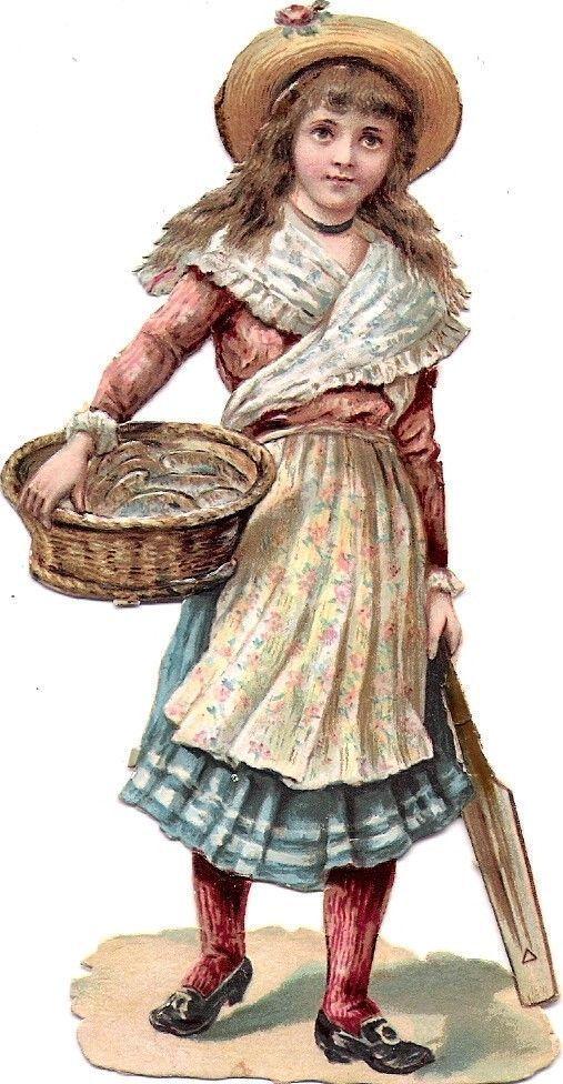 Oblaten Glanzbild scrap die cut chromo Kind child girl Dame lady fish Fisch Korb: