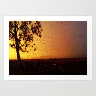 Rainy sunset art print