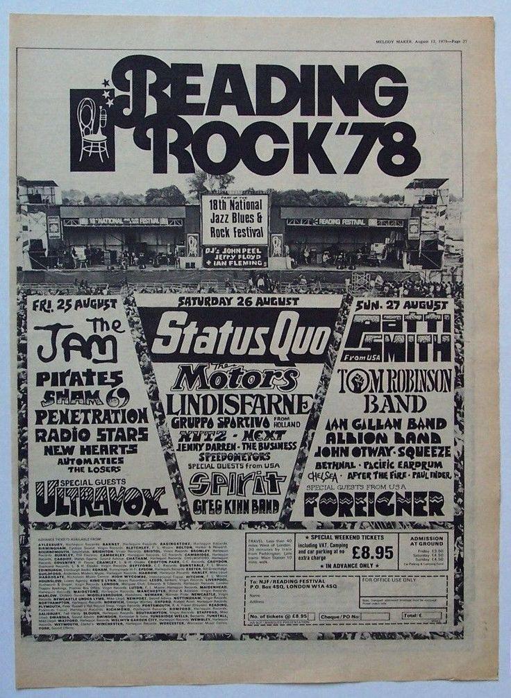 Reading Festival 1978 Poster Ad Patti Smith Staus Quo The ...