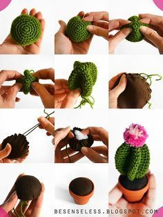 Tutorial en italiano (texto, sin esquema) amigurumi cactus - free crochet pattern - besenseless.blogspot.com