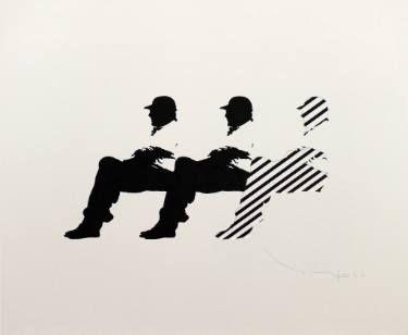 "Saatchi Art Artist Tehos Frederic CAMILLERI; Drawing, ""Tehos - Three men on a bench  15"" #art"