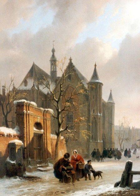 Bartholomeus Johannes van Hove - Kerkuitgang bij avond