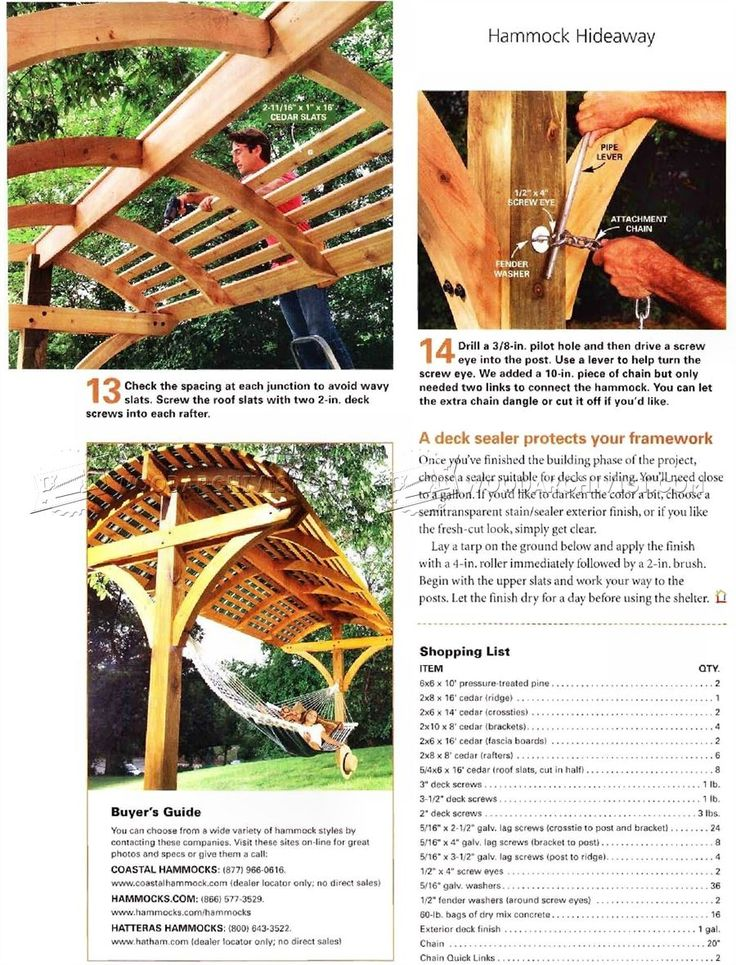 #2080 Overhead Shading Hammock Stand Plans - Outdoor Furniture Plans Outdoor Plans