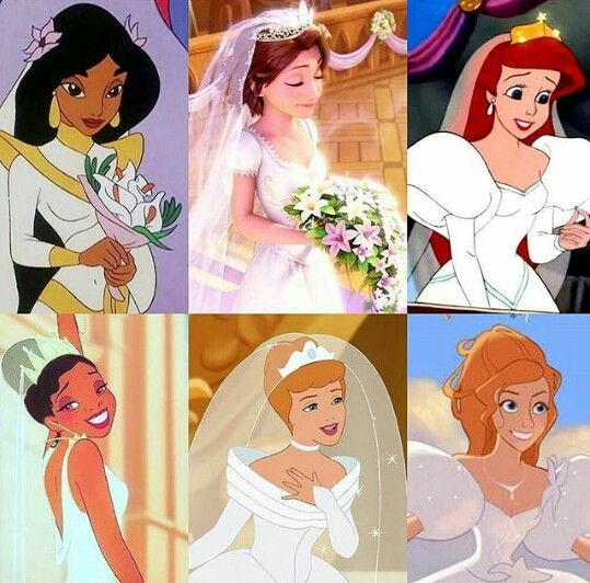 A few disney princesses and their wedding gowns