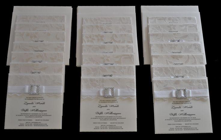 Cream and white wedding invitation