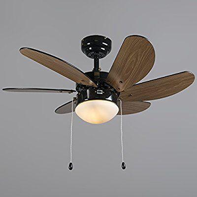 QAZQA Modern Ceiling fan with light Fresh 30 Black Glass / Wood / / Round Suitable for LED E14 Max. 1 x 60 Watt / Indoor Lighting / Lights / Lamps / Living room / Bedroom / Kitchen: Amazon.co.uk: Lighting