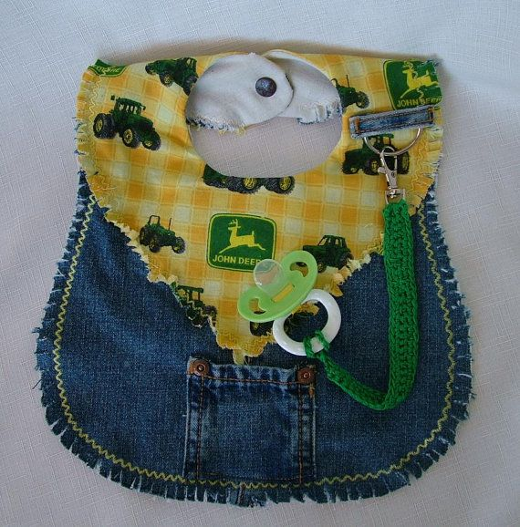 This little bib might be For Farmers Only or just all those who just love Tractors (Especially John Deere!) The repurposed jeans bib is fully lined and