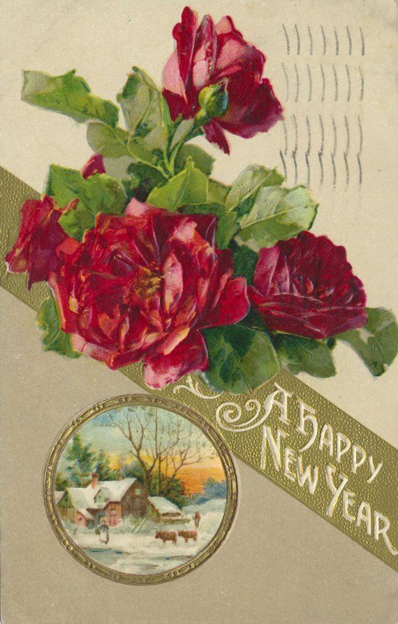 craft corner antique happy new year rose postcard with a happy new year message highlighted by beautiful red rose blossoms circa 1909 vintage new