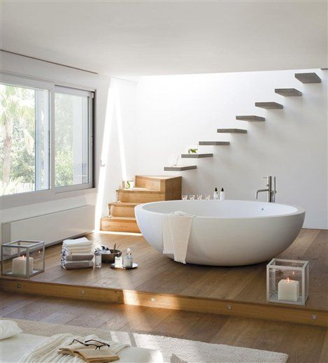 zen bath: floating stairs & floating bath tub in airy, naturally lit room