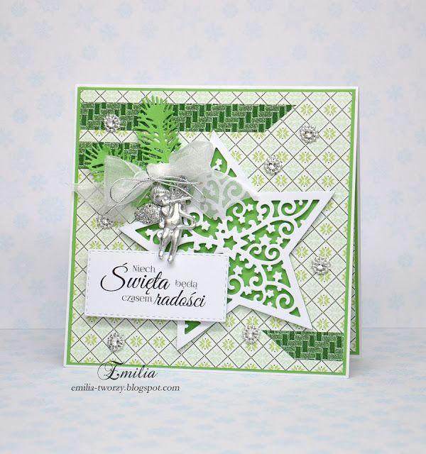 Emilia tworzy: Kartka na Boże Narodzenie z gwiazdką/Christmas card with star/Xmas
