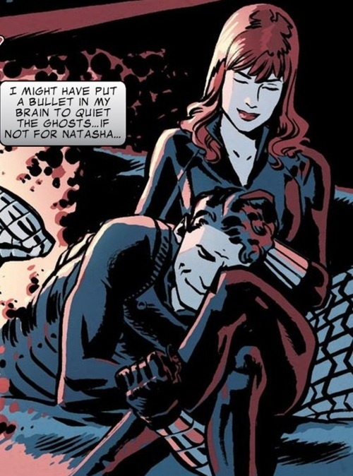 Captain America & Bucky #624 | Bucky catching his sister Becca up on his life, including his girlfriend. This is very, very accurate. Nat stopped Bucky from killing himself at least one time, probably more.
