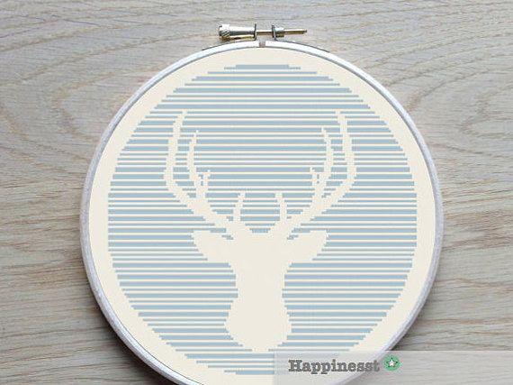 modern cross stitch pattern deer silhouette, reindeer stripes, thin lines, PDF,  ** instant download**