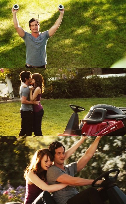 Emma Stone and Penn Badgley riding of into the sun on a lawn mower -- Easy A