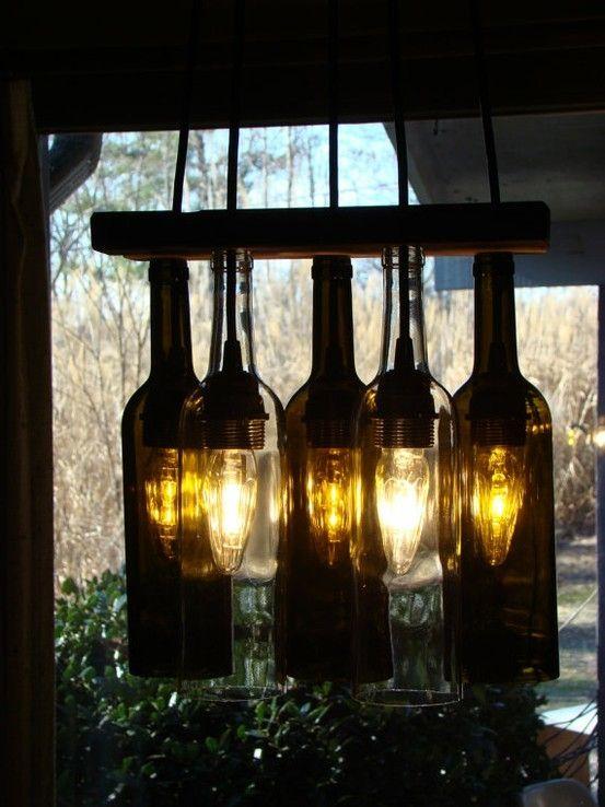 wine bottle lighting. wine bottle chandelier on etsy lighting