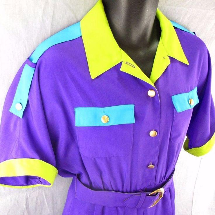 Caron Petite Vintage Jumper Size 8 Women's Purple Outfit Belted Suit 1980's  #CaronPetite