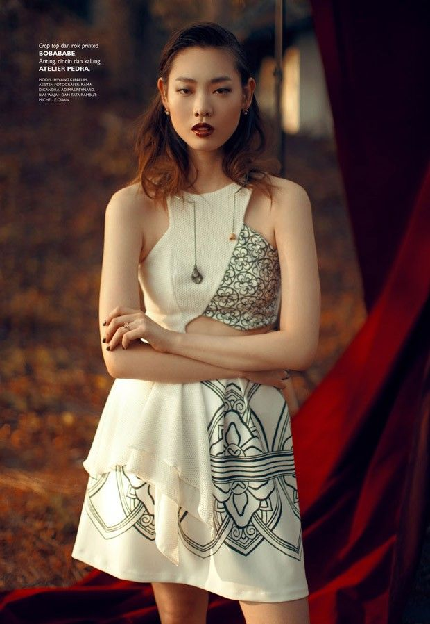Hwang Gippeum for Grazia Indonesia by Ryan Tandya - Bobababe assymmetrical crop top and painted skiry