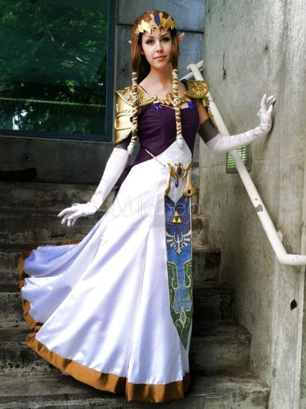 The Legend of Zelda Female Link Girl COSplay Costume Dress Outfit Robe Cape Gown