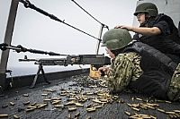 160701-N-DQ840-011  ATLANTIC OCEAN (July 1, 2016) Operations Specialist 1st Class Brian Shear fires an M240 machine gun during a weapons qualification shoot aboard the amphibious transport dock ship USS San Antonio (LPD 17). San Antonio is deployed with the Wasp Amphibious Ready Group to support maritime security operations and theater security cooperation efforts in the U.S. 6th Fleet area of operations. (U.S. Navy photo by Mass Communication Specialist 2nd Class Adam Austin/Released)