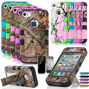 Triple Layer Hybrid Real Tree Camo Stand Hard Soft Case Cover for iPhone 4 4G 4S