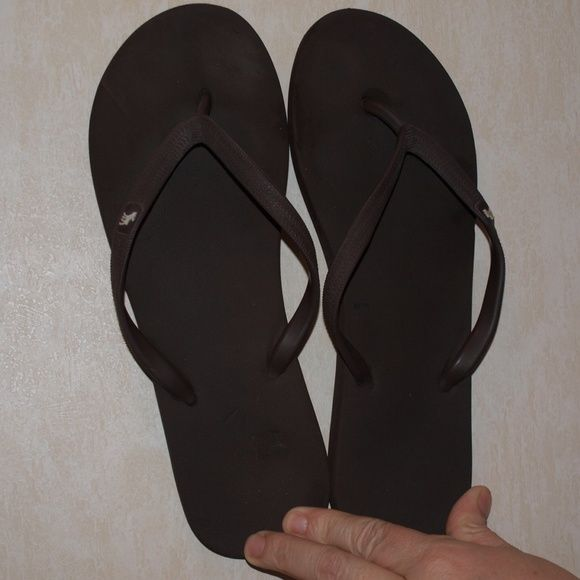 $5 Abercrombie and Fitch flip flops So cute and casual! Get ready for spring with these! They have a slight mark on them which is shown in the last picture. They are in great condition! Abercrombie & Fitch Shoes