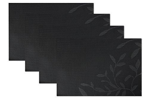 SiCoHome Placemats Leaves BlackSet of 4Placemats for Dining Table Heat Insulation Stain-resistant Woven Vinyl Kitchen Placemat Vinyl Placemats