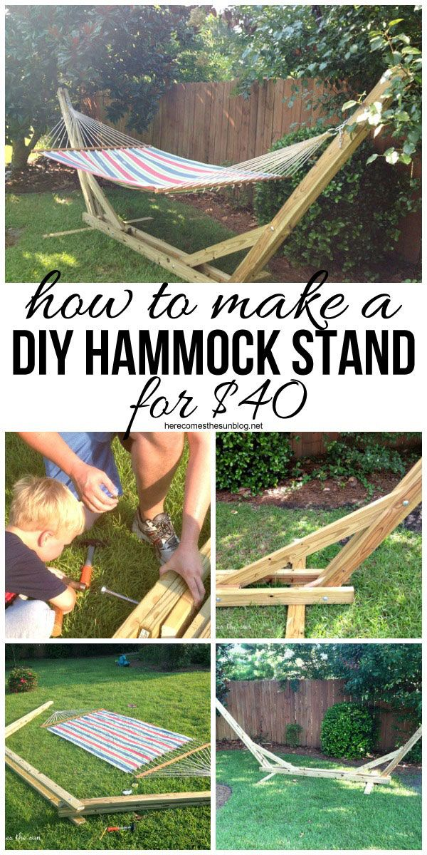 "Make your own DIY Hammock Stand for 40 bucks! This is the perfect weekend project! Use code ""PINME"" for 40% off all hammocks on our site maderaoutdoor.com"