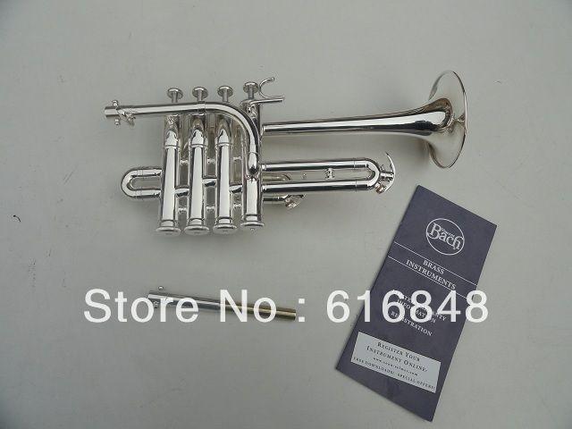 360.00$  Buy here - http://alinlz.worldwells.pw/go.php?t=890509847 - Brand Best US Bach Replica Silver Plated B piccolo trumpet trombeta three tone trumpet monel piston trompeta