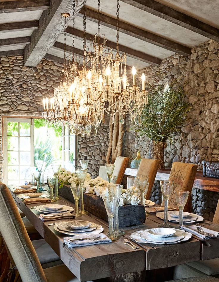 Stone walls, rustic farmhouse table