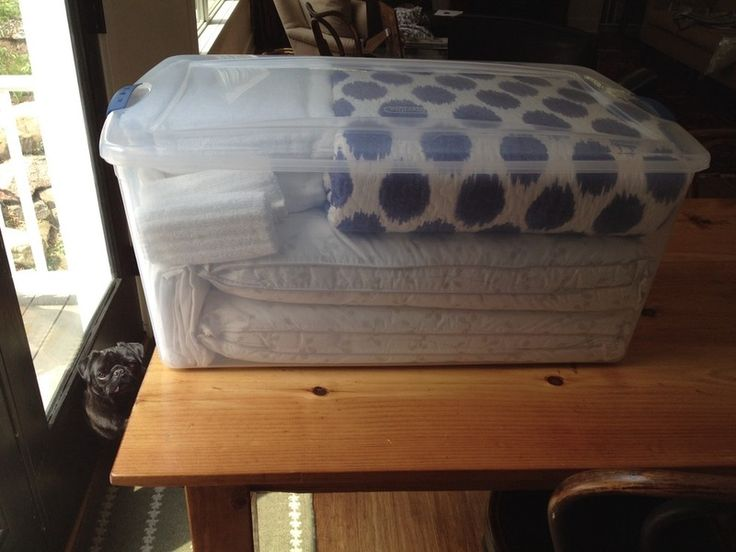 Guest Room in a Box - What a great idea for transforming a kid's bedroom into a guest room in a flash. Store fresh, pretty towels and linens in a plastic tub and, voila! Welcome those guests in style!